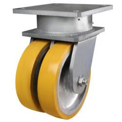 Super heavy duty twin wheel fixed castor polyurethane tyre 1 - 360 Castors & Wheels
