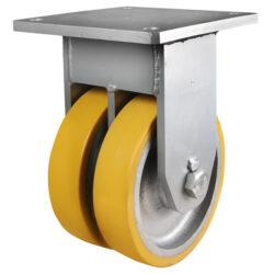 Super heavy duty twin wheel fixed castor polyurethane tyre 2 - 360 Castors & Wheels